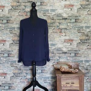 NEW GAP Blue Button V-Neck Hi-Lo Shirt Size Small